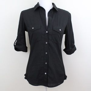 James Perse Vneck Button Up Shirt Rolled Sleeves